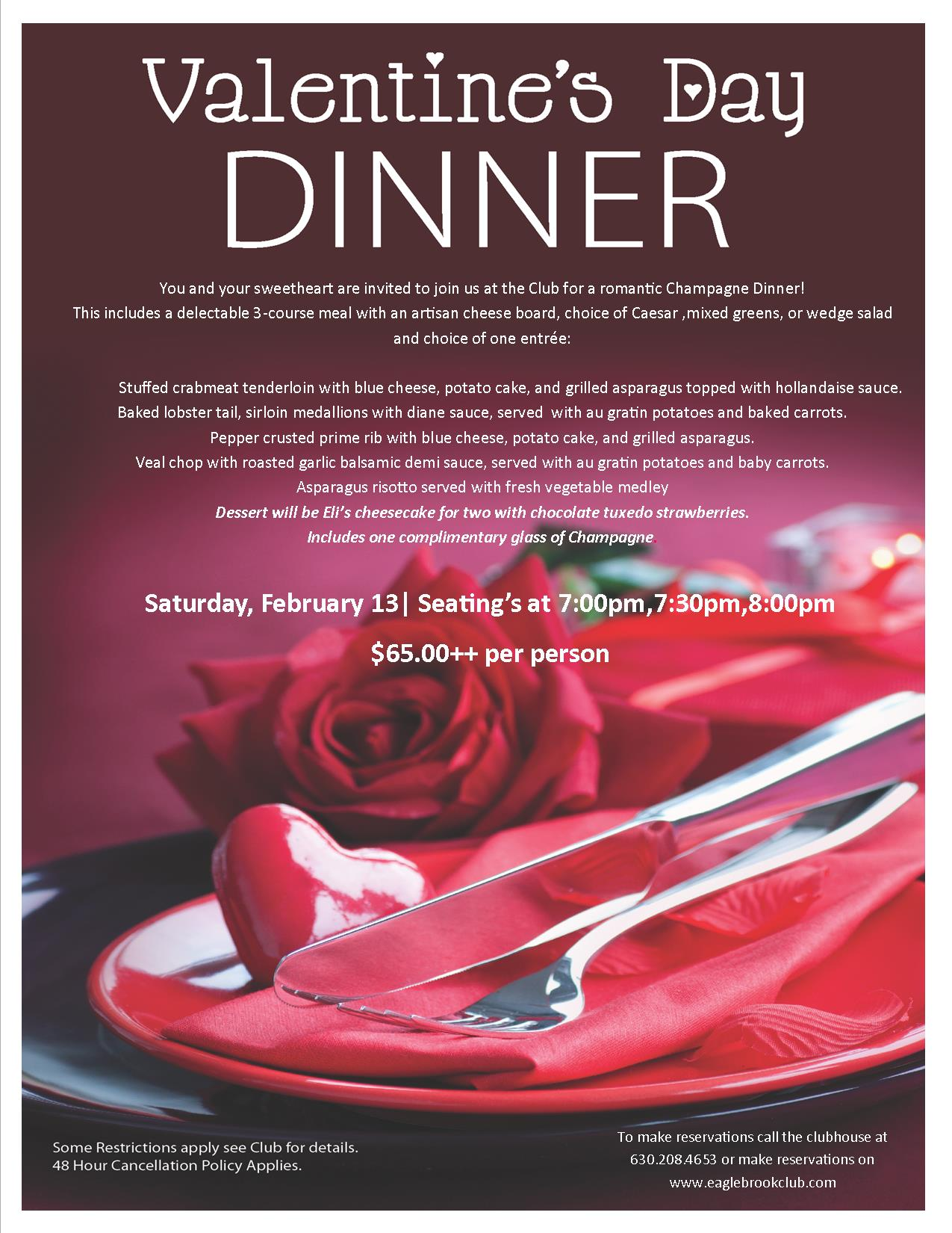 Valentine S Day Dinner Eagle Brook Country Club 2016 02 13